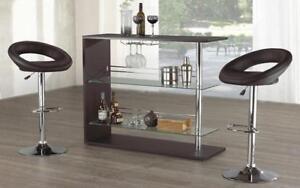 Bar Set with Stools - 3 pc - White | Black | Espresso 3 pc Set / Espresso