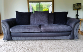 LIKE NEW 3 / 4 seater grey fabric, faux suede sofa DELIVERY INCLUDED