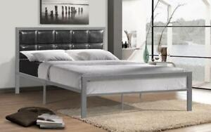 Platform Metal Bed with Leather - Grey Queen / Grey / Metal & Leather