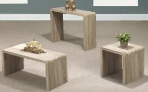 Coffee Table Set with Bent Wood - 3 pc - Distressed Oak 3 pc Set / Distressed Oak