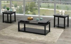 Coffee Table Set with Marble Lift Top - 3 pc - Black   Grey 3 pc Set / Black   Grey
