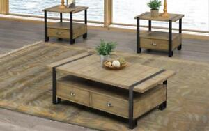 Coffee Table Set with Drawers - 3 pc - Black   Distressed Oak 3 pc Set / Black   Distressed Oak
