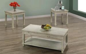 Coffee Table Set with Drawers & Shelf - 3 pc - Distressed Grey 3 pc Set / Distressed Grey