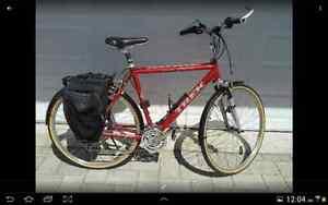 Vélo Trek tout équipé pour le voyage.