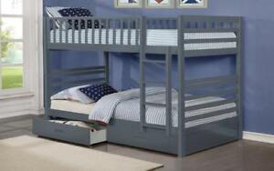 Bunk Bed - Twin over Twin with 2 Drawers Solid Wood - White | Grey Grey