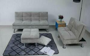 Fabric Sofa Bed Set - 3 pc - Grey Grey