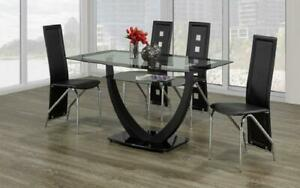 Kitchen Set with Glass Top - 7 pc - Black 7 pc Set - Mix Chair / Black