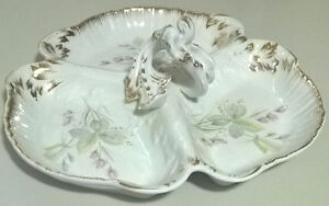 Antique 3 Section Porcelain Candy/Nut Dish with Handle