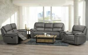 Recliner Set - 3 Piece - Micro Suede Fabric [Smoke] 3 pc Set / Smoke