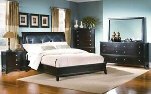 Bedroom Set with Leather Insert Head Board 8 pc - Dark Espresso King / Dark Espresso