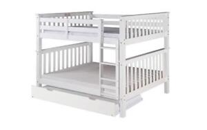 *** BRAND NEW *** HUGE SALE *** DOUBLE/DOUBLE DETACHABLE SOLID WOOD BUNK BED WITH PULL-OUT TRUNDLE (***LIMITED STOCK****