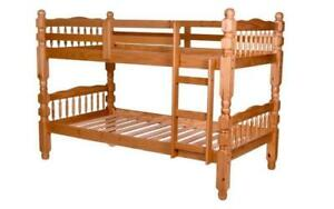 """Bunk Bed - Twin over Twin Post Design Solid Wood - Honey 4"""" Post"""