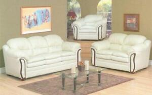 ***BLOWOUT SALE****3-PIECE SOFA SET - BONDED LEATHER (IVORY)***LOWEST PRICES