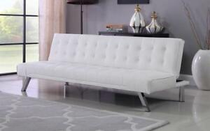 Leather Sofa Bed with Chrome Legs - White White