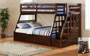 SINGLE OVER DOUBLE STEP BUNKBED WITH STEPS & SIDE DRAWERS