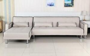 Fabric Sectional Sofa Bed with Reversible Chaise - Beige Beige
