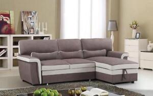 Elephant Skin Sectional Sofa Bed with Left Side Or Right Side Chaise - Brown | Beige Right Side Chaise / Brown | Beige