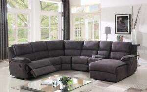 Recliner Corner Sectional with High Tech Fabric - Grey Grey