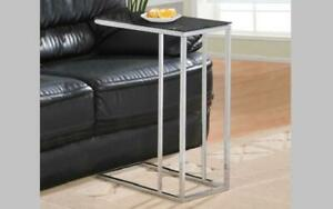 Sofa Table Glass Top with Chrome Leg - Black | White Black