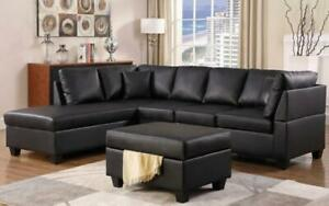 Leather Sectional Set with Chaise and Ottoman - Black Black