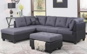 Fabric Sectional set with Chaise and Ottoman - Grey | Black Black | Grey