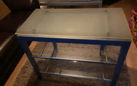Glass entertainment unit TV stand Frosted glass top.