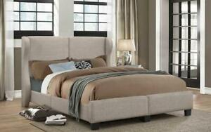 Platform Bed with Linen Style Fabric - Grey King / Grey / Linen Style Fabric