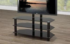 TV Stand with Chrome Legs - Black Black