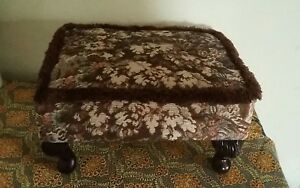 Vintage Retro  Style Tapestry Footstool. Small with Queen Anne Type Legs.