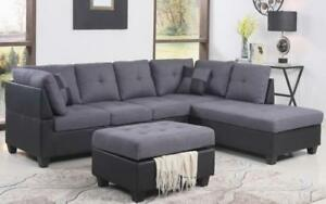 Fabric Sectional set with Chaise and Ottoman - Grey | Black Black | Grey / Right Side Chaise