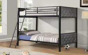 Bunk Bed - Twin over Twin with Metal and Fabric - Black & Grey Black   Grey