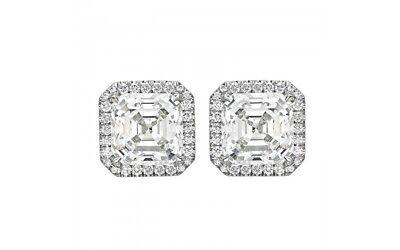 Diamante Set Orecchini a Bottone Taglio Asscher Già Certificato 4.75 Carato 18kt