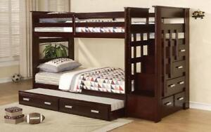 Bunk Bed - Twin over Twin with Trundle, Drawers, Staircase Solid Wood - Espresso Espresso