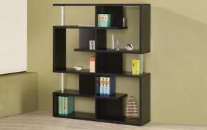 Book Shelf with Chrome Bar - Black | White Black