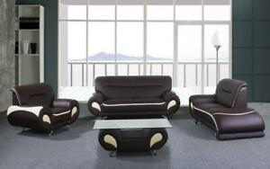 Sofa Set - 4 Piece - Chocolate | Beige Beige | Chocolate