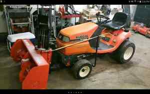Kubota lawnmower tractor with snowblower attachment