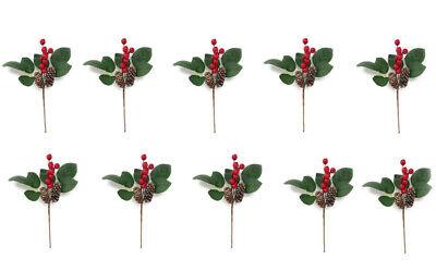 10 rami artificiale decorazioni natalizie con pigne e bacche fiori albero natale
