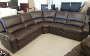 Recliner Corner Sectional with Air Leather - Black | Chocolate Chocolate