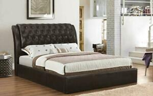 Platform Bed with Bonded Leather - Espresso King / Espresso / Bonded Leather