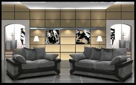 🌀 3+2 Or Corner Dino Sofa in Black &Grey🌀