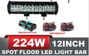 New 224W 12 inch Straight LED light bar , Flood-Spot Combo -4D!-