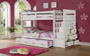 Bunk Bed - Twin over Twin with Trundle, Drawers, Staircase Solid Wood - White White