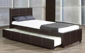 Platform Bed with Leather and Twin Trundle - Black Twin / Black / Leather