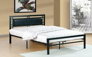 Platform Metal Bed with Leather - Black Queen / Black / Metal & Leather