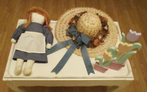 Charming Country Home Decor - Doll, Straw Hat, and Wooden Tulips