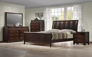 Bedroom Set with Leather Insert Curved Head Board 8 pc - Dark Walnut King / Dark Walnut