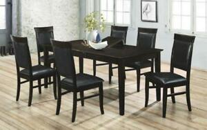 Kitchen Set Solid Wood with Butterfly Leaf - 7 pc - Espresso   Black 7 pc Set - Solid Pattern / Espresso   Black