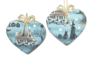 Halloween Heart Ornaments   Party Favors   Handmade Gift Idea   Set/2   #1