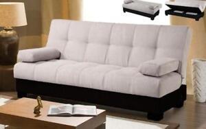 Micro Fabric Sofa Bed with Storage - Beige | Black Black | Beige