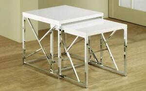 Nesting Table High Gloss Lacquer Top with Chrome Leg - 2 pc - Black | White White